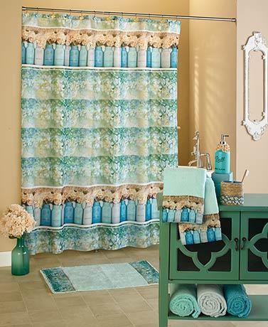 Mason Jar Floral Bath Collection Cold Cast Ceramic Shower Curtain ...