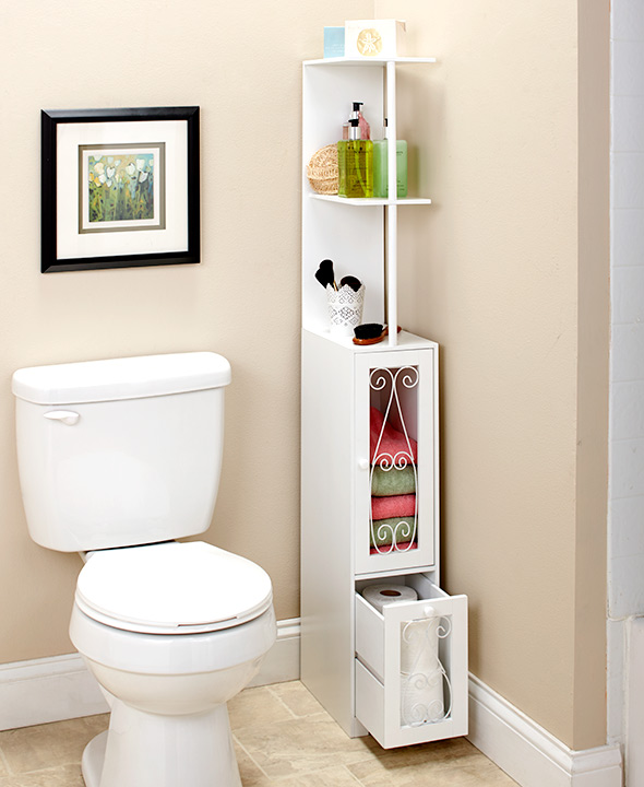 Space Saving Scrolled Storage Cabinets Toilet Paper Holder Display