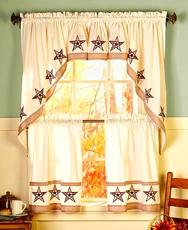 Accent Your Kitchen With The Designs Of Country Star Curtains And Towels.  Each Curtain, As Well As The Window Valance, Has An Ivory Background And Is  ...