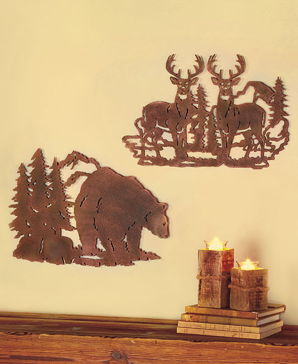 Die-Cut Wildlife Wall Art Deer, Bear & Moose Metal Silhouette Rustic ...