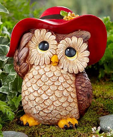 Garden Statue Owl Figurine Ceramic Dress Up Animal Indoor Outdoor Lawn Decor New