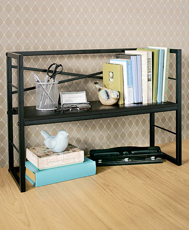 Brown desktop shelves storage shelf table desk office den kitchen increase the storage capacity at your desk with a desktop shelf it gives you a spot to keep files binders books and more organized and accessible altavistaventures Choice Image