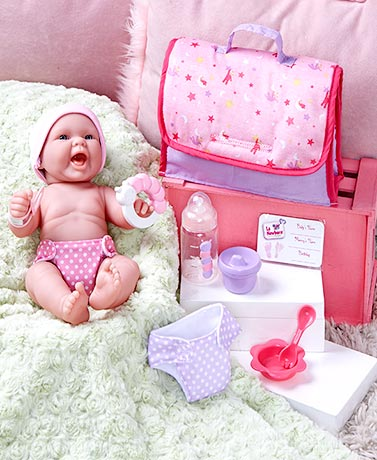 La Newborn 13 Real Life Realistic Baby Doll Set Outfit Diaper Bag Playtime Fun