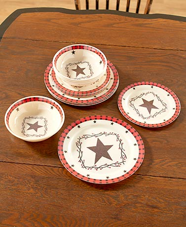 12-PC-Americana-Country-Star-Melamine-Dinnerware-Dishwasher- & 12 PC Americana Country Star Melamine Dinnerware Dishwasher Safe ...