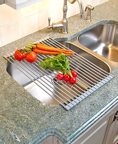 Roll Up Sink Drying Rack Silicone Covered, Heavy Duty Steel Bars ...