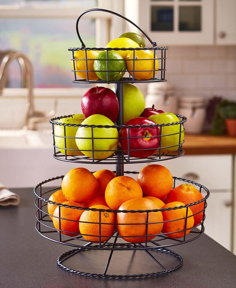 Round 3 Tier Fruit Basket Iron Farmhouse Decor Kitchen Display Stand Black Bread