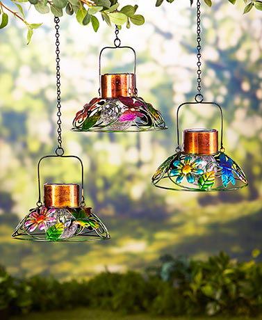 Colorful Solar Garden Lamps Solar Powered Metal And Crackle Glass Ball  Lights