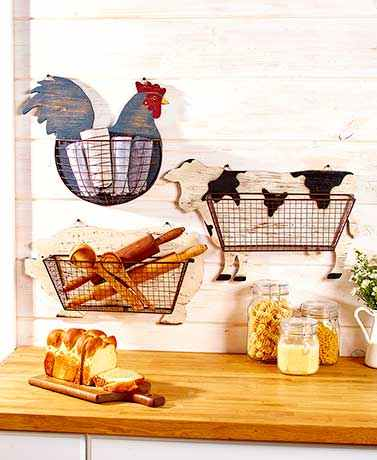 Charmant This Wire Wall Basket Is A Practical Addition To Your Farmhouse Themed  Kitchen. Itu0027s Attached To A Wooden Cutout Of A Popular Barnyard Animal And  Can Be ...