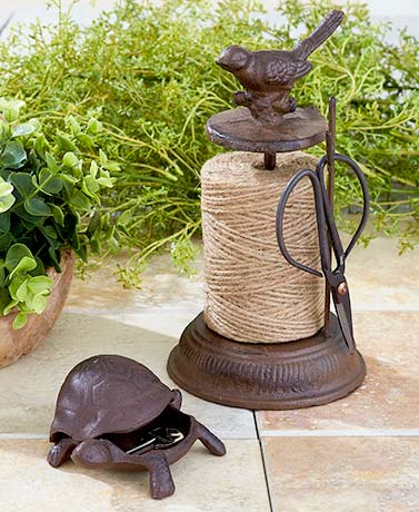 cast iron garden accessories turtle frog key hider garden twine with scissors - Garden Accessories