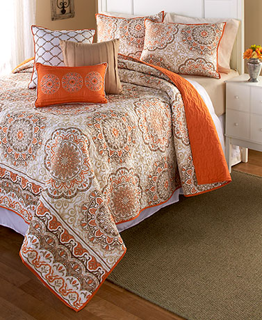 Quilt Sets Decorative Pillows Shams Bedding Bedroom Orange Tan Blue Fascinating Decorative Bed Pillow Shams