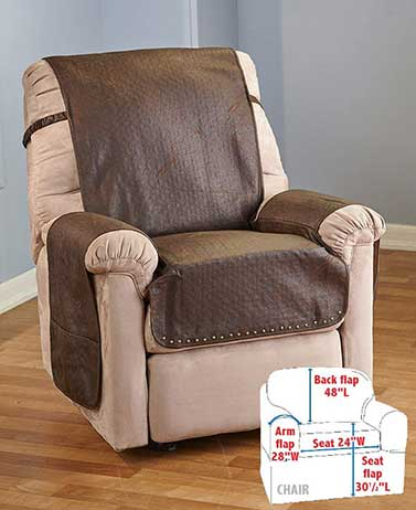 Leather Look Recliner Chair Cover With Memory Foam