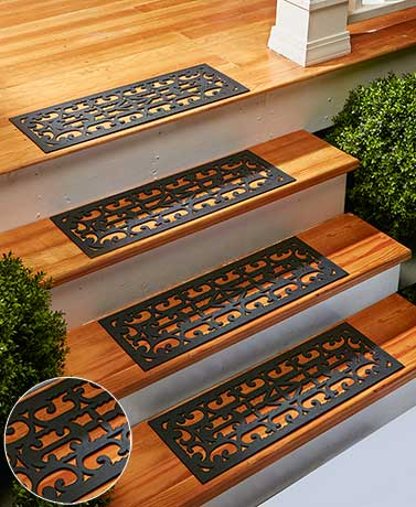 Stair Mats Sets Of 4 Scroll And Snowman Rubber Waterproof Prevent Slipping  Home