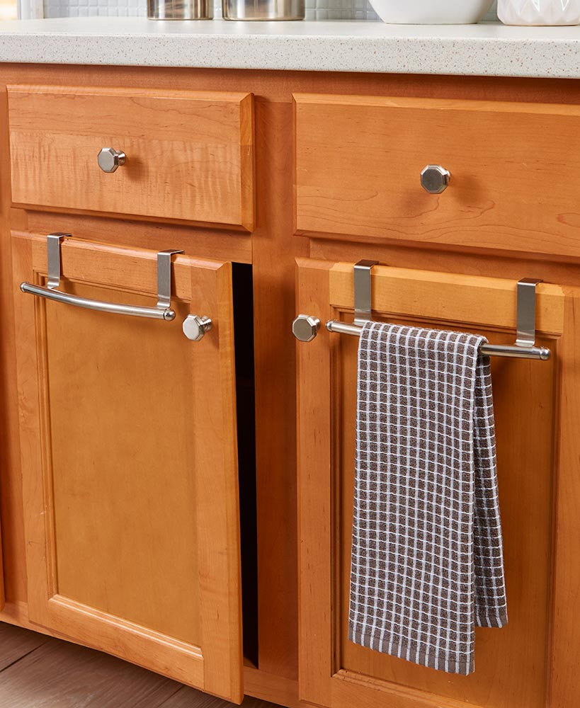 Genial Sets Of 2 Over The Cabinet Towel Bars Chrome Choice, Stainless Steel Dish  Towels