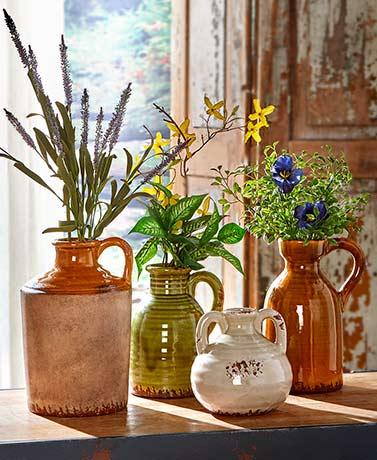 Rustic Ceramic Pottery Vases Flowers Foliage Decorative Jug Pitcher