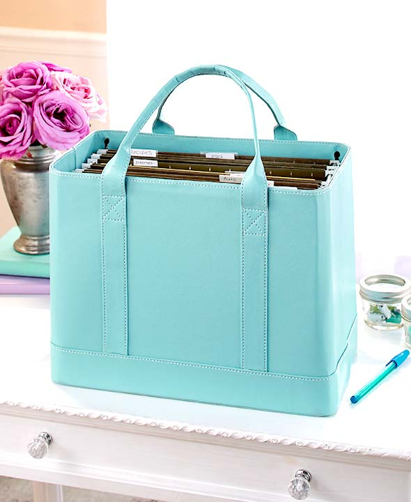Chic File Organizer Tote Doent Folder Carrier Faux Leather Polyurethane New