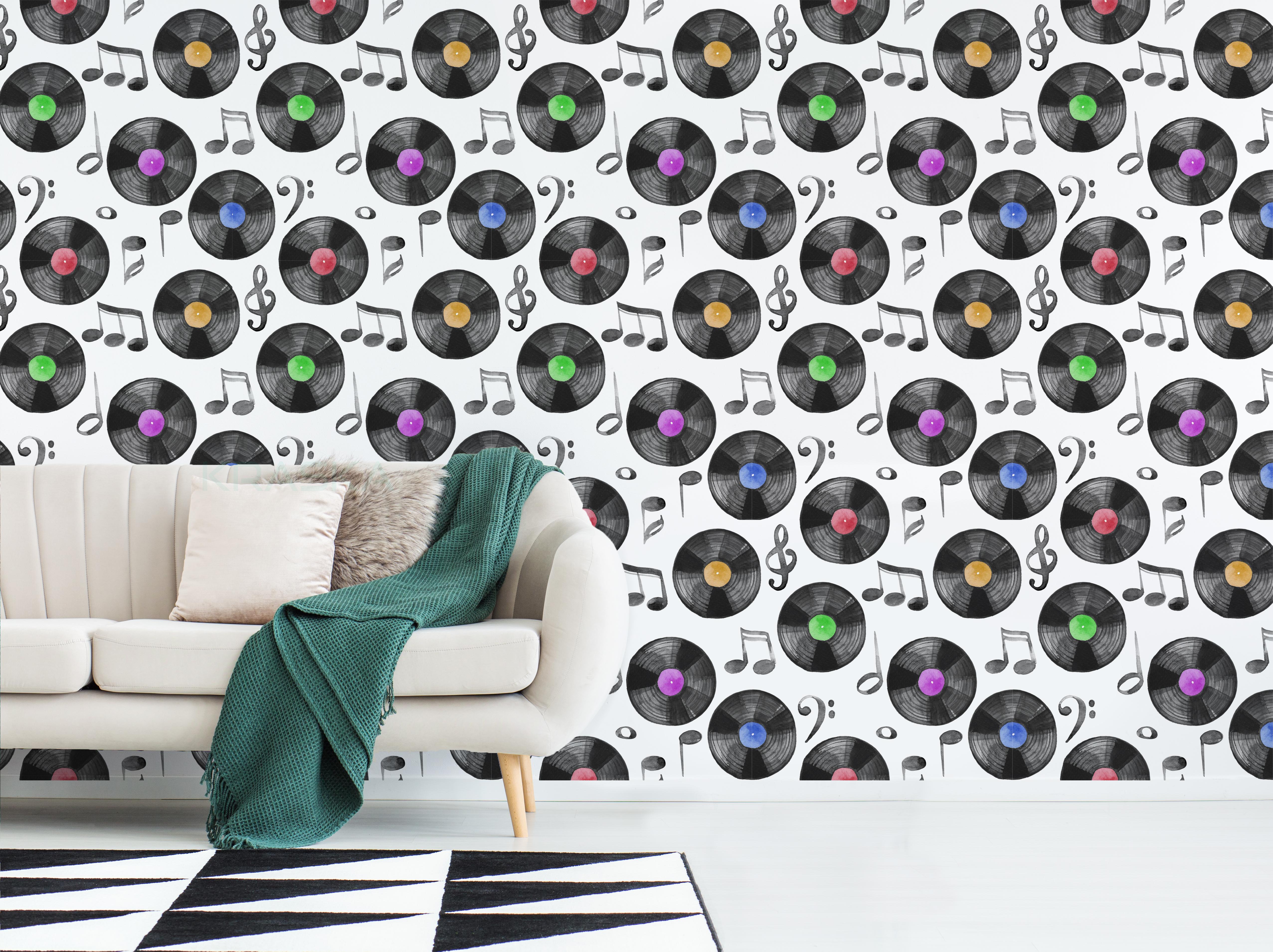 Peel And Stick Wallpaper Vinyl Record Music Note Kraska