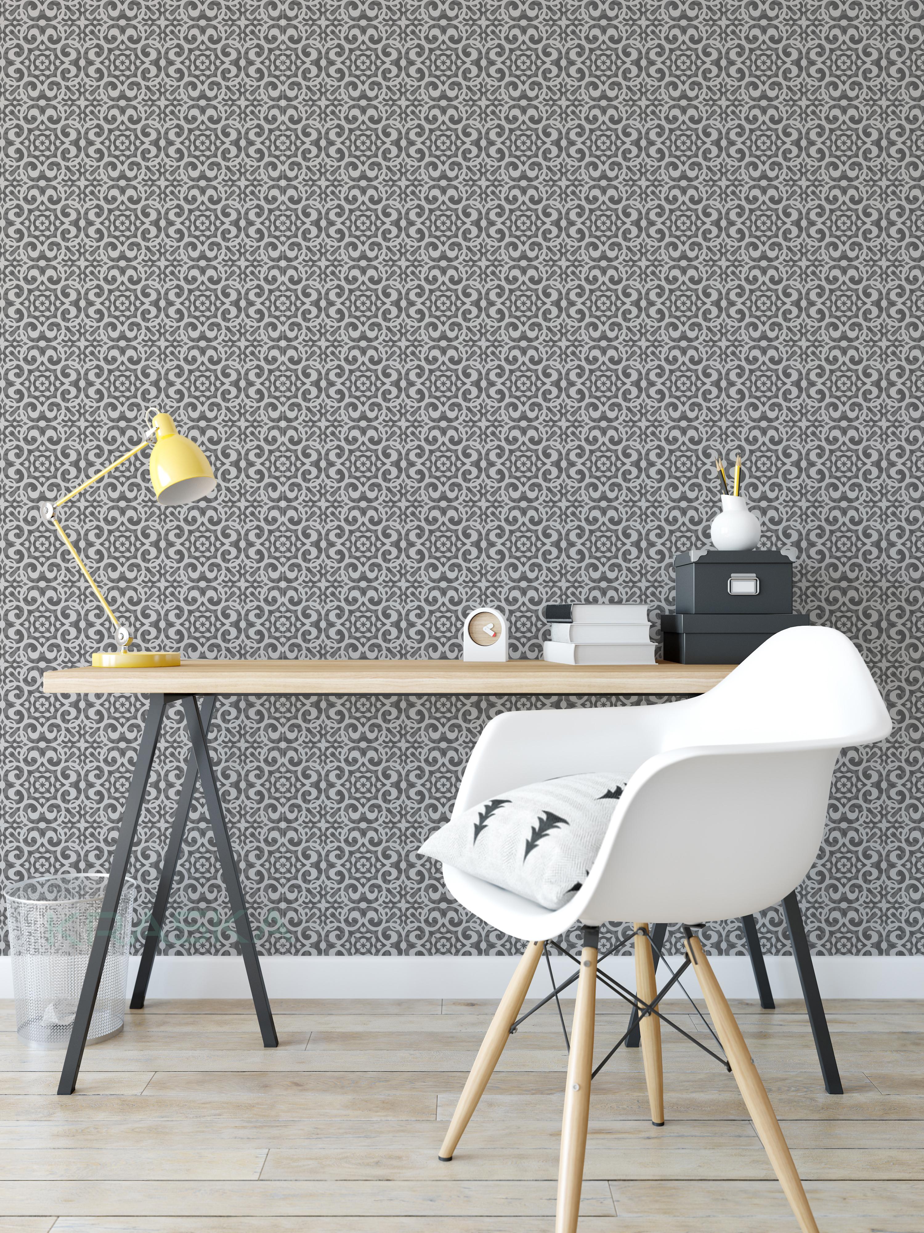 peel and stick wallpaper damask geometric gray kraska removable wall decor ebay. Black Bedroom Furniture Sets. Home Design Ideas