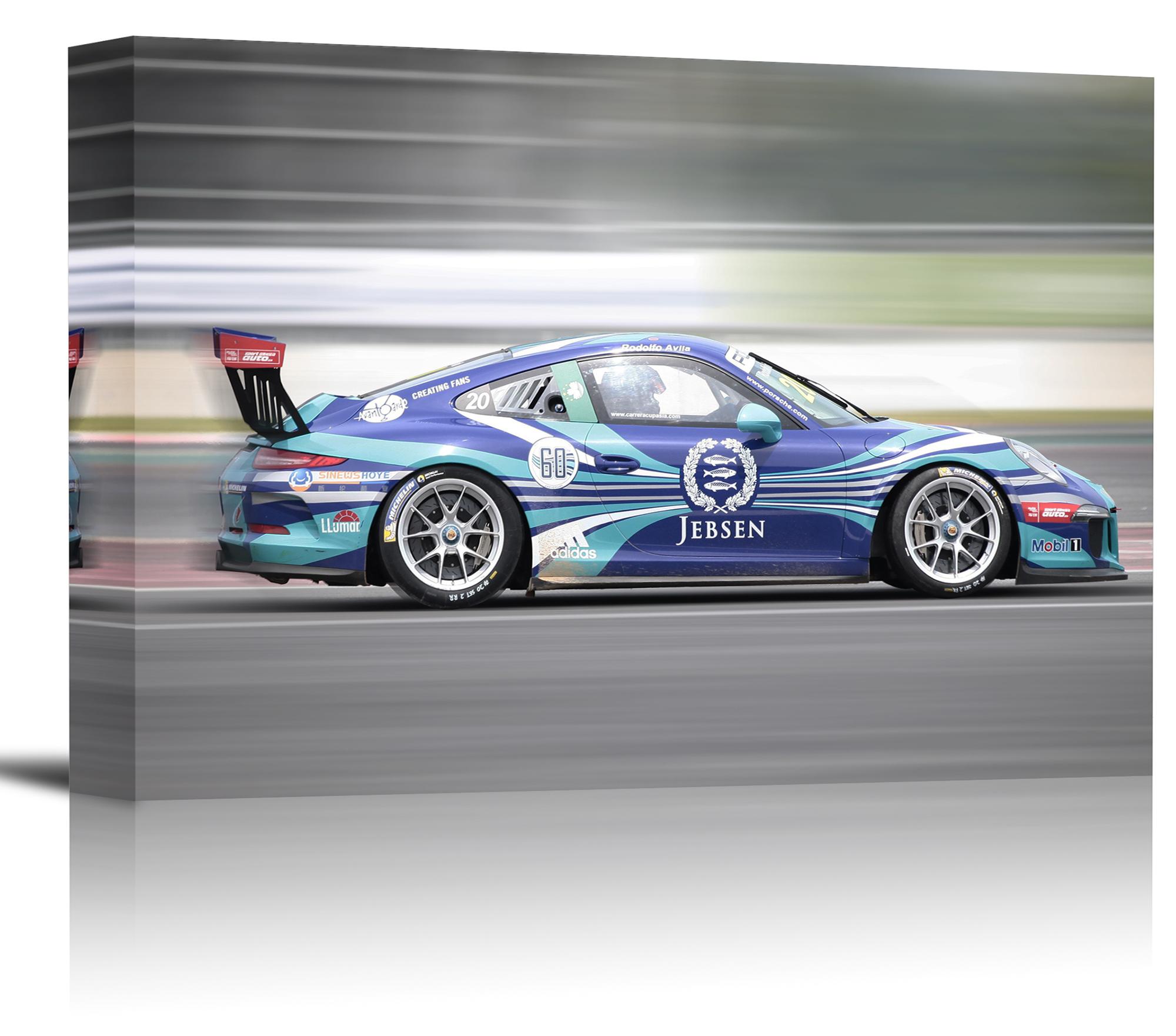 Porsche Carrera 911 Gt3 Race Car Art Print Wall Decor Canvas