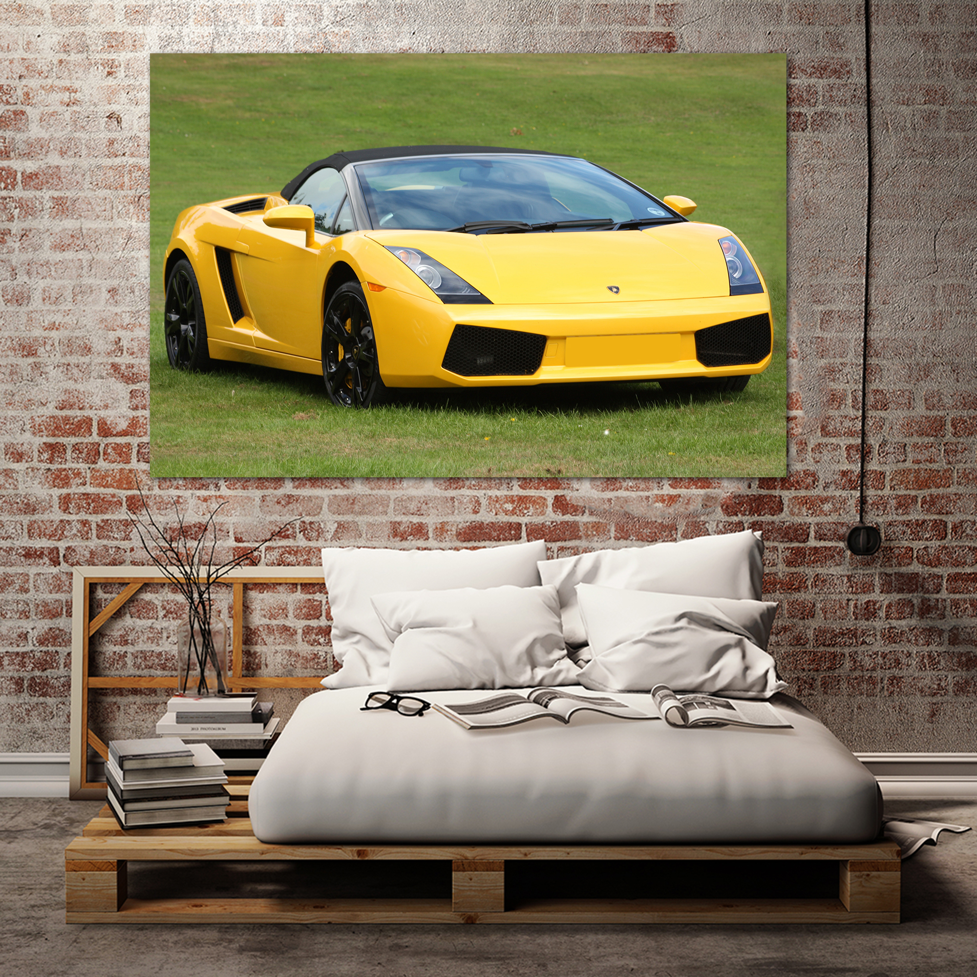 Lamborghini Gallardo Convertible Sports Car Art Print Wall Decor