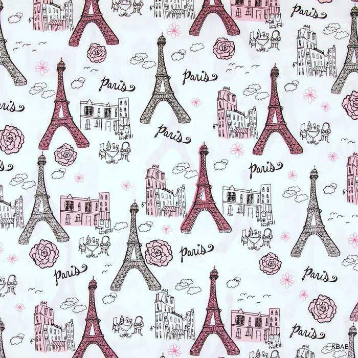 Paris Eiffel Tower Pink B/&W Gray Rose Flower Glitter Cotton Quilt Fabric a1//1