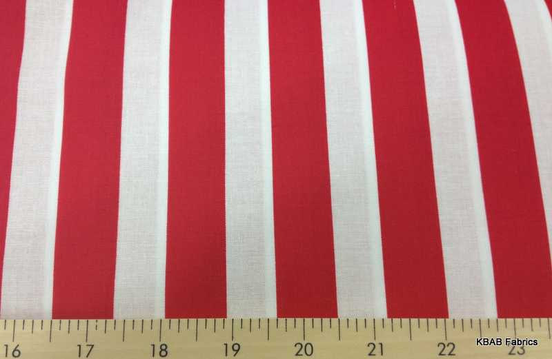 Red And White Stripe 78 Inch Striped Cotton Quilting Apparel Fabric
