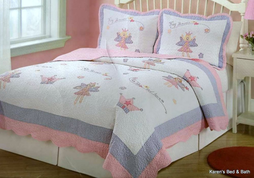 Gisela Graham Girls Fairy Flowers Pink Purple Green Tea Party Quilt Bedspread