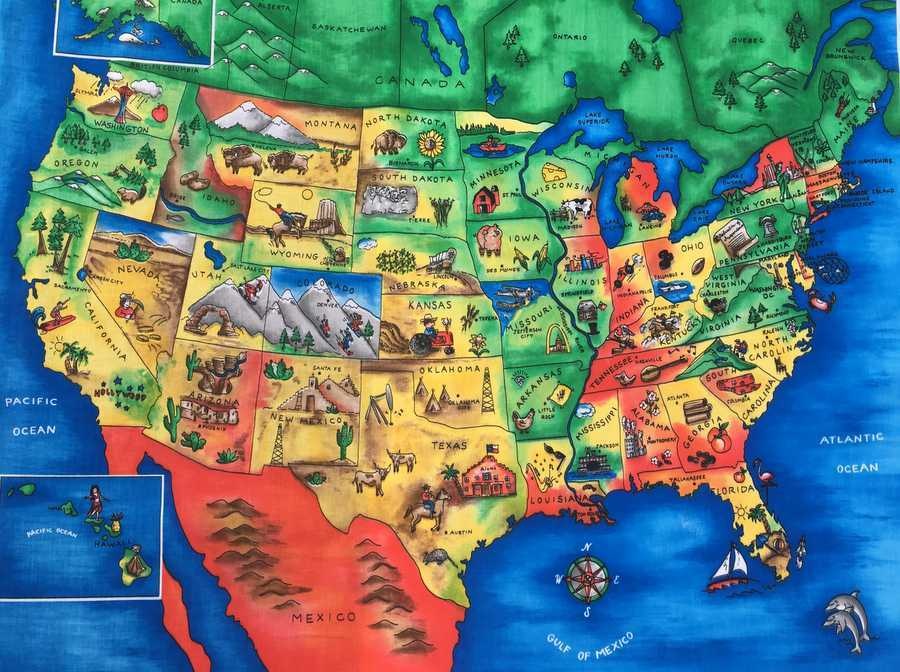 Details about United States Map with Capitals USA Geography School Kids  Cotton Fabric Panel