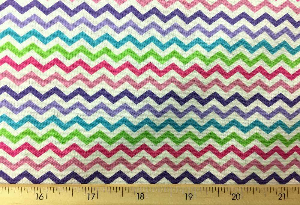 Multi Color Striped Chevron Rainbow Stripes Zigzag Stripe Cotton