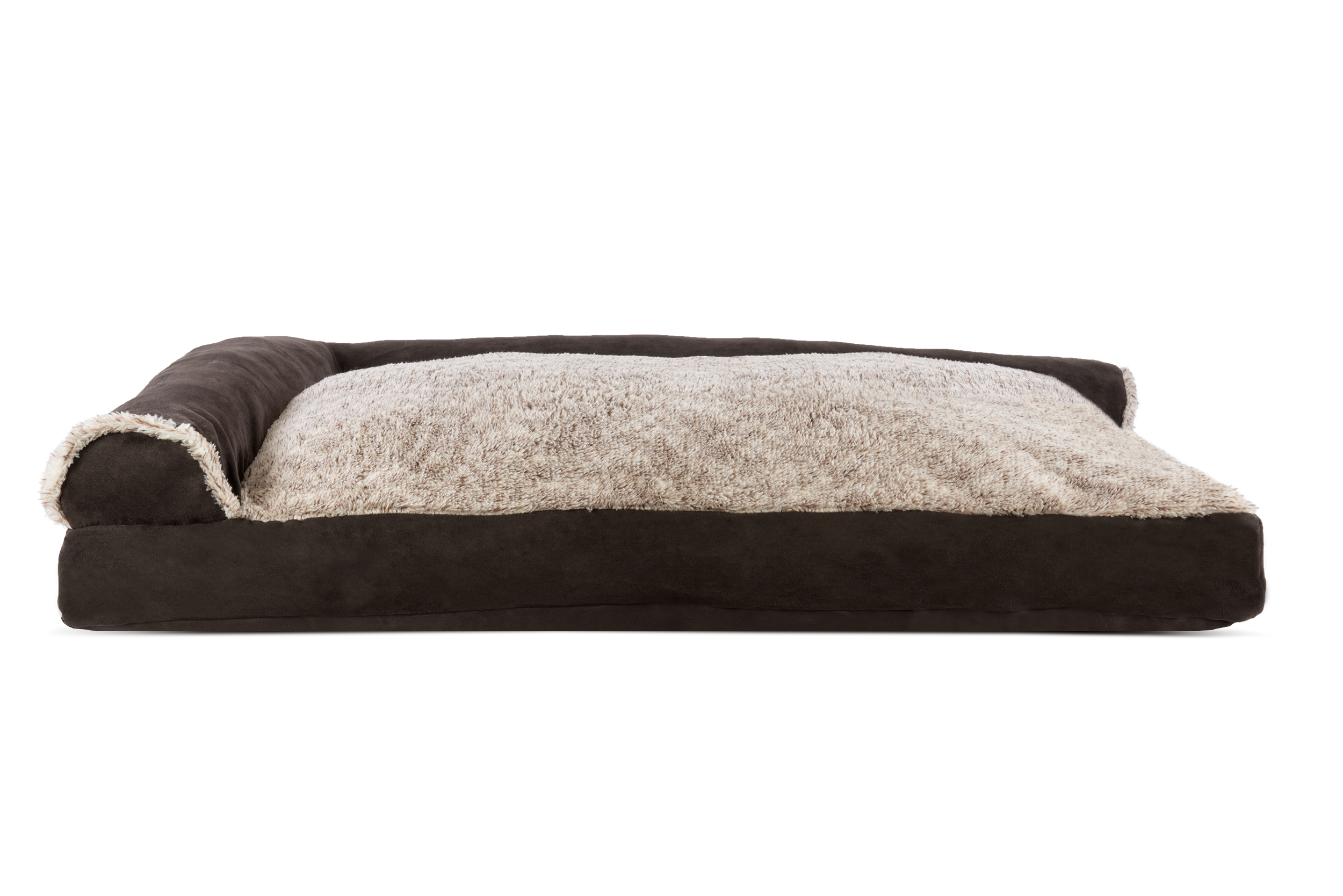 Two Tone Faux Fur Amp Suede Deluxe Chaise Lounge Pillow Sofa