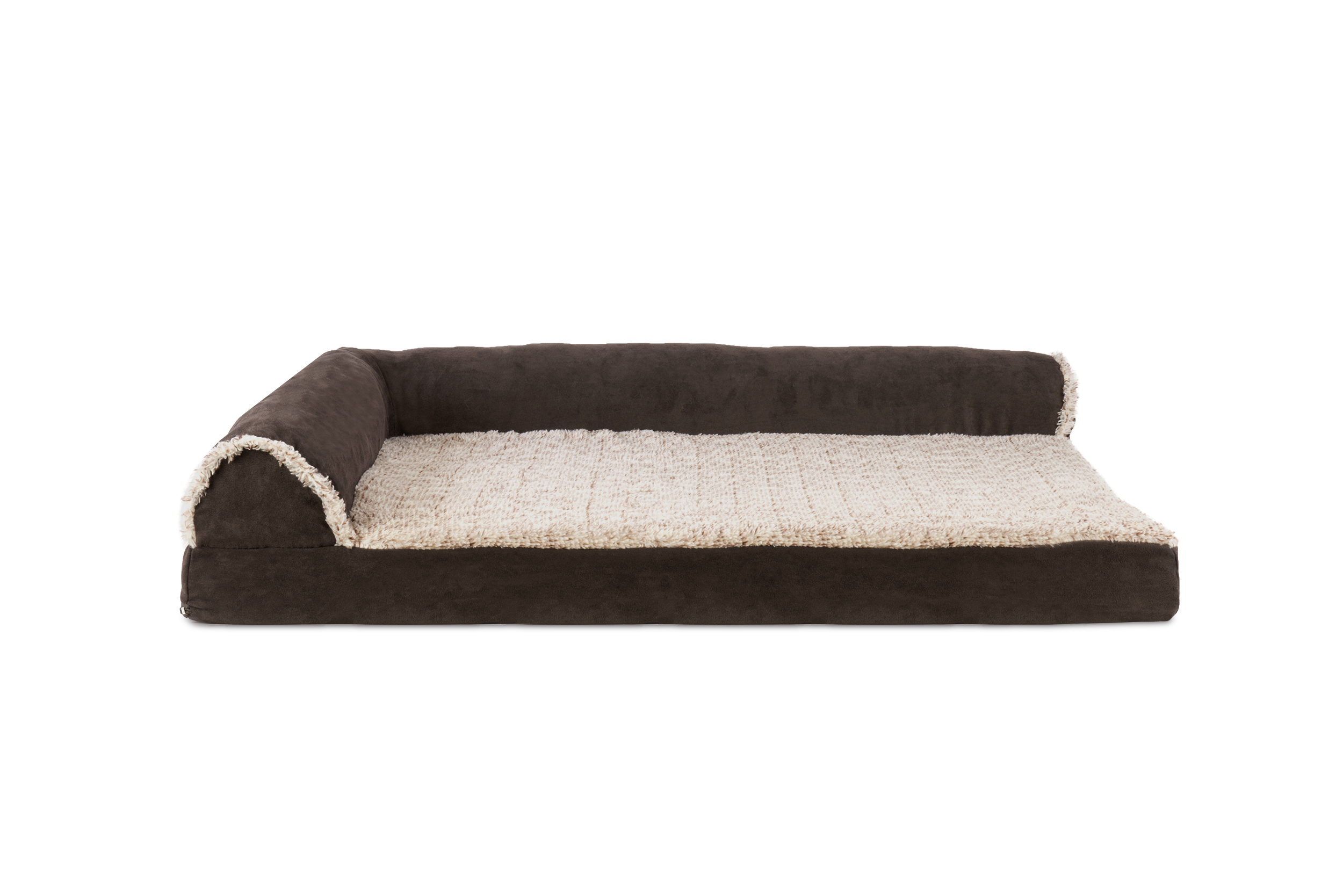 Two Tone Faux Fur & Suede Deluxe Chaise Lounge Orthopedic Sofa Pet