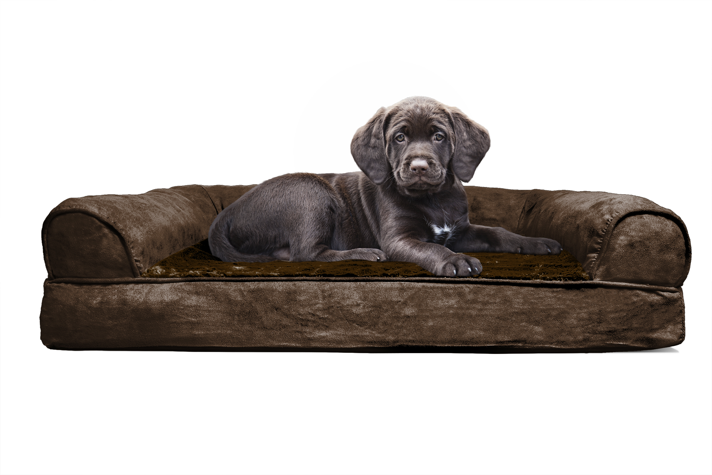 FurHaven Jumbo Plush & Suede Orthopedic Sofa Pet Bed for Dogs and