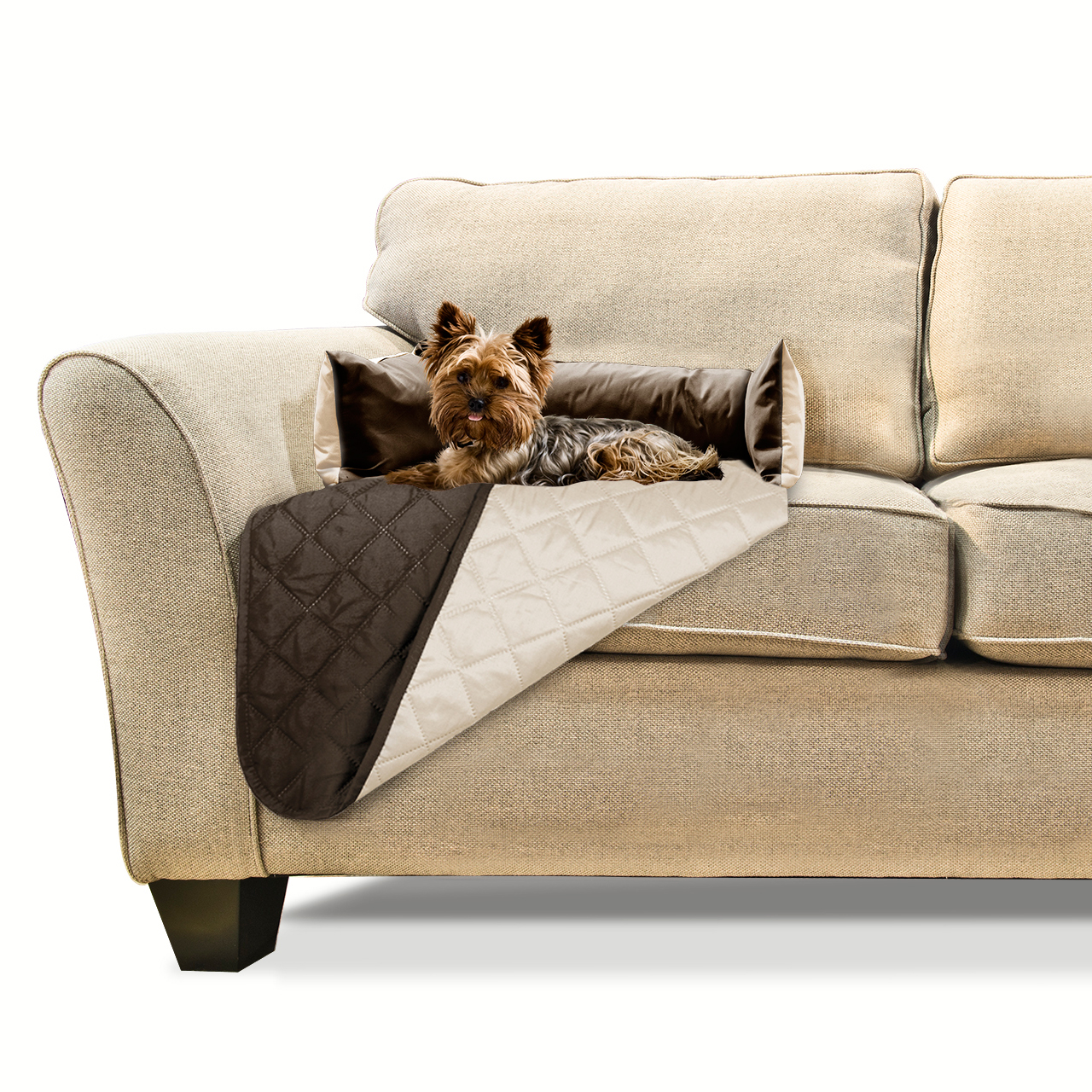 FurHaven Sofa Buddy Pet Bed Furniture Cover Espresso/clay