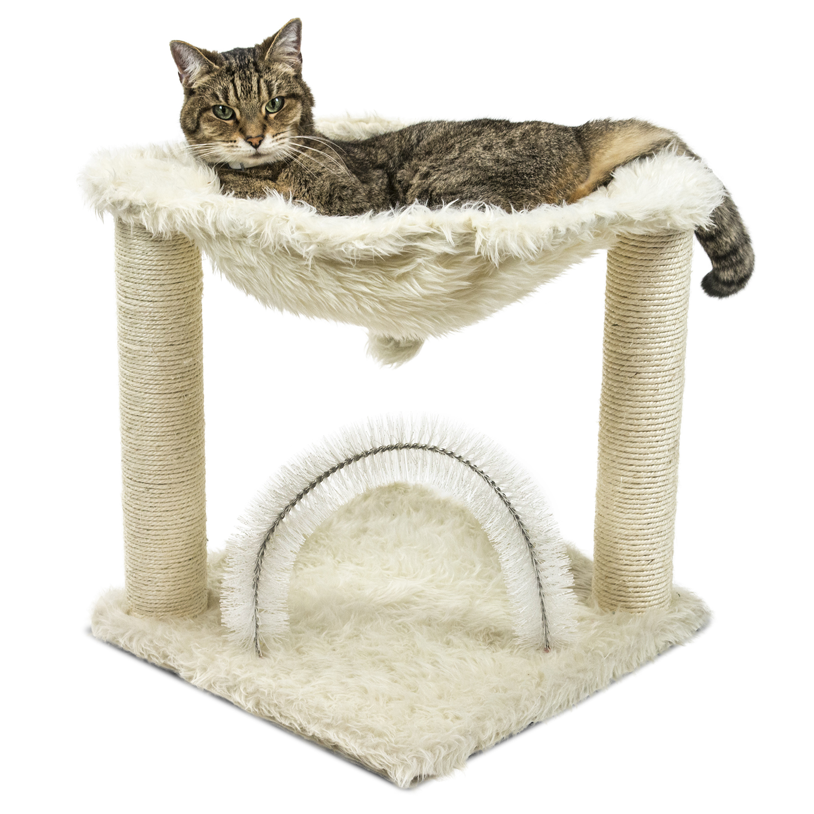 picture 2 of 3     furhaven tiger tough plush hammock cat bed and grooming station      rh   ebay