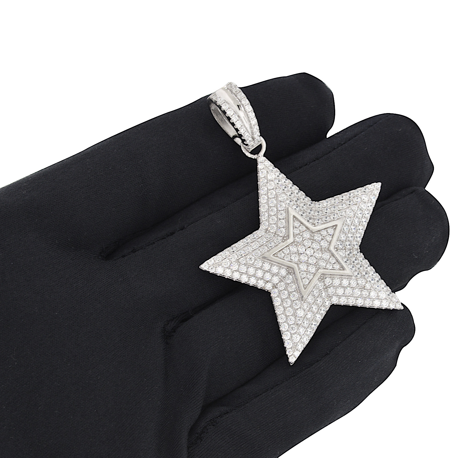 Men/'s Rhodium Finish .925 Silver Simulated Diamond Iced Out Star Pendant Hip Hop