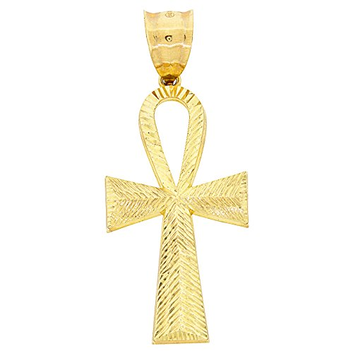 Mens Real 10k Yellow Gold Ankh Cross Pendant Egyptian Symbol