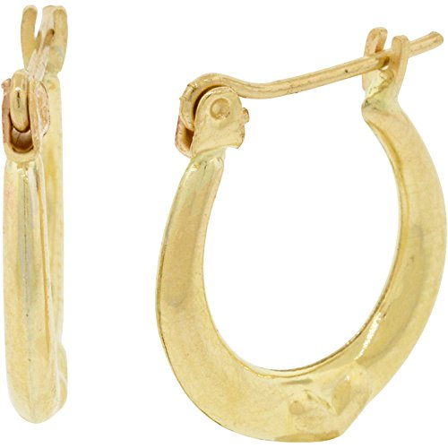 10k Yellow Gold Treble Clef Symbol with Diamond Cut Accents Stud Earrings