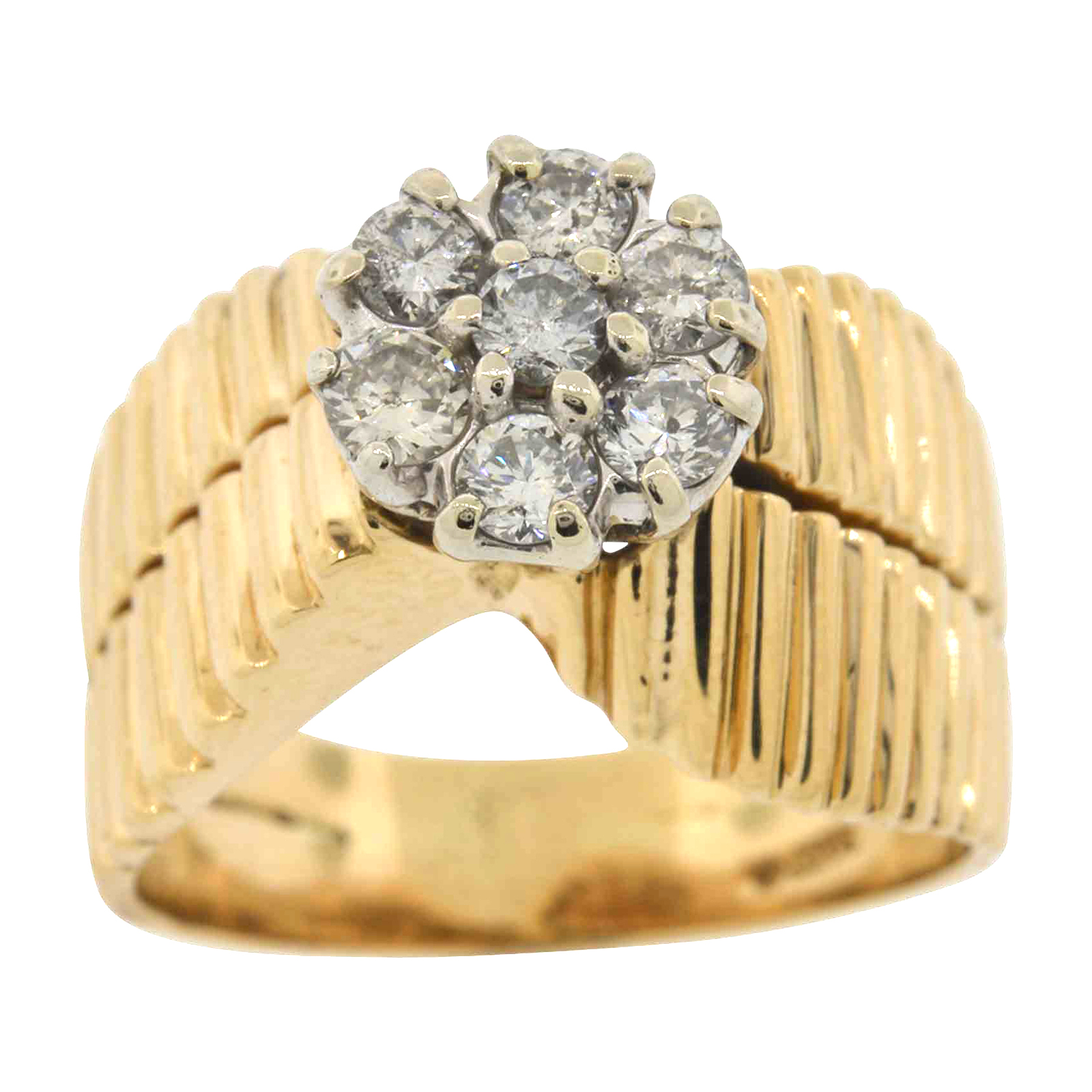 d7f6b60be Details about Ladies Real 14K Gold Genuine Diamond Cluster Ring 7 Stone  Vintage Estate Women's