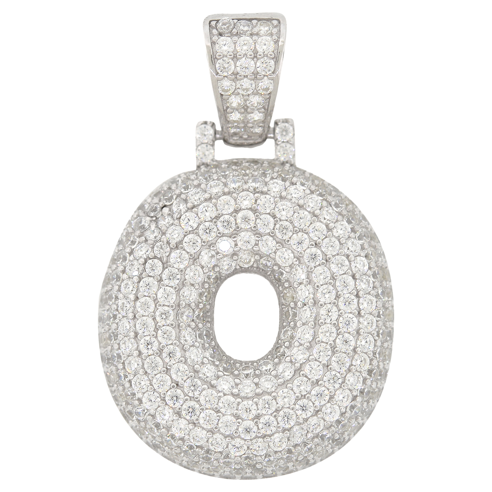 Simulated Peridot /& Diamond Round Pendant .925 Sterling Silver Rhodium Finish