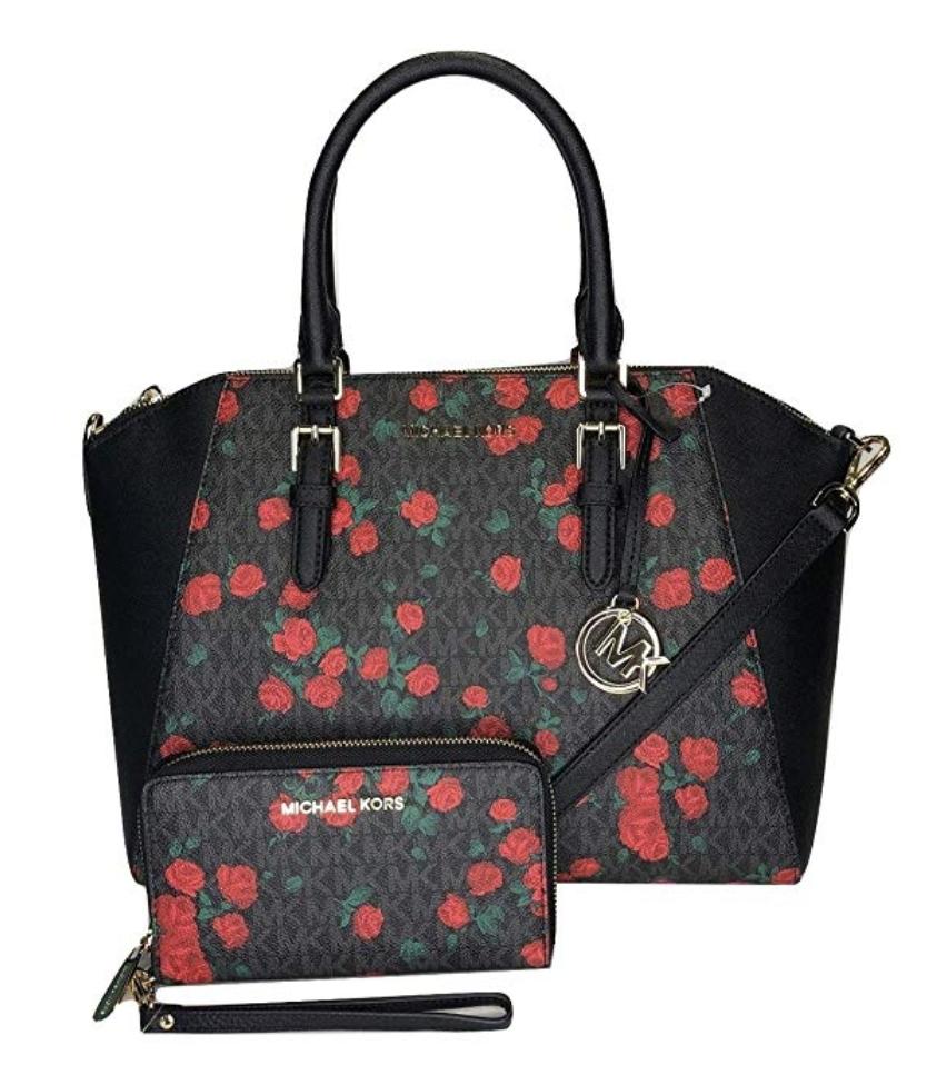 bf616f630573 Michael Kors Ciara Large Top Zip SatcheL Black Red Rose + Wristlet ...