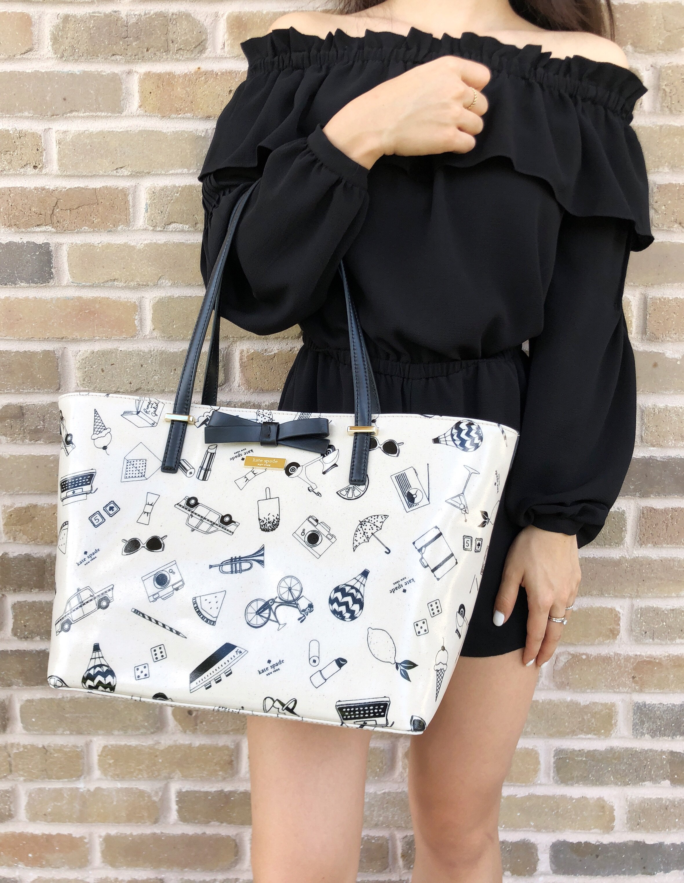 Details About Kate Spade South Poplar Street Francis Tote Cream Multi Black Bow
