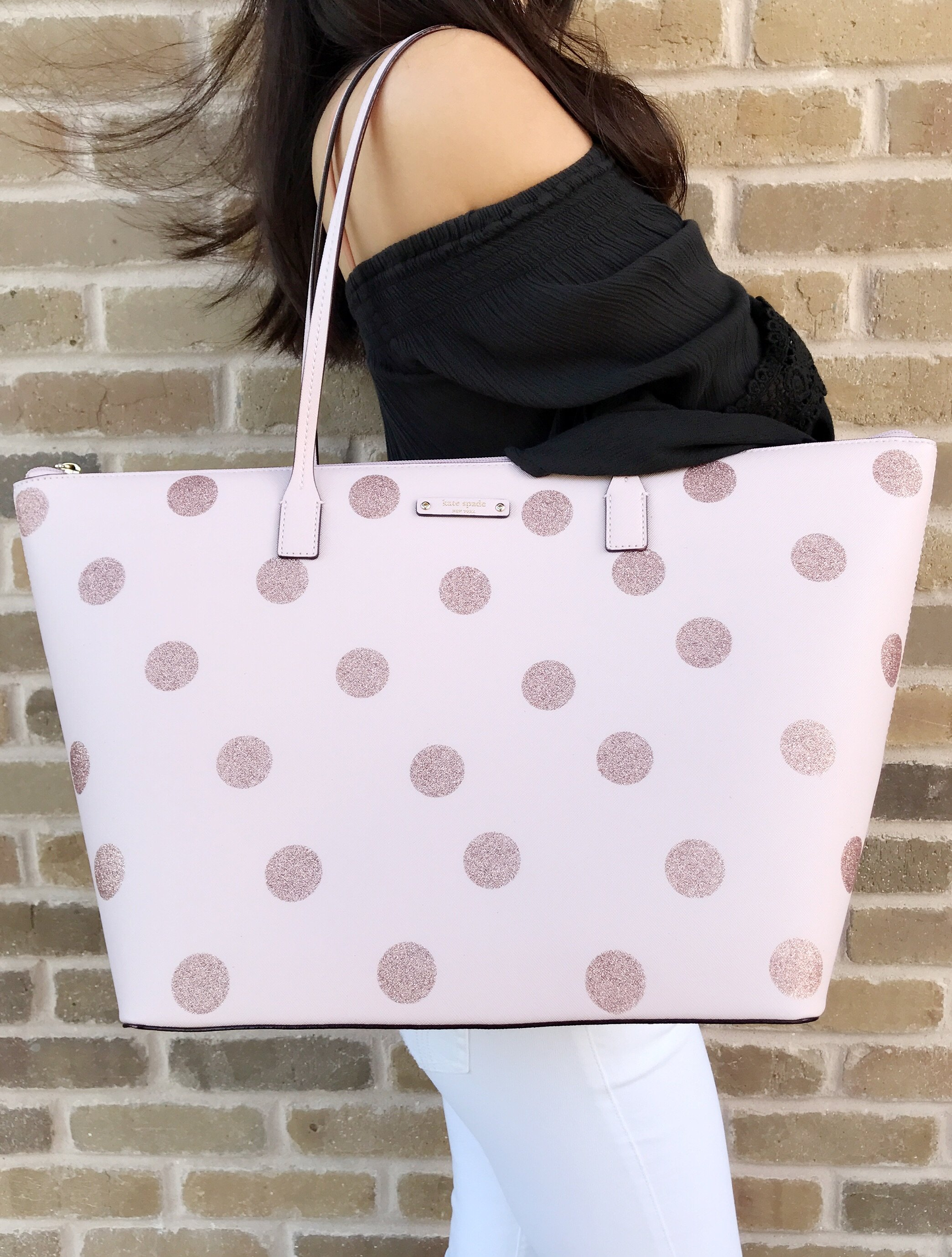Nwt kate spade haven lane large hani tote glitter pink polka dot 19 l x 115 h x 6 w junglespirit Image collections