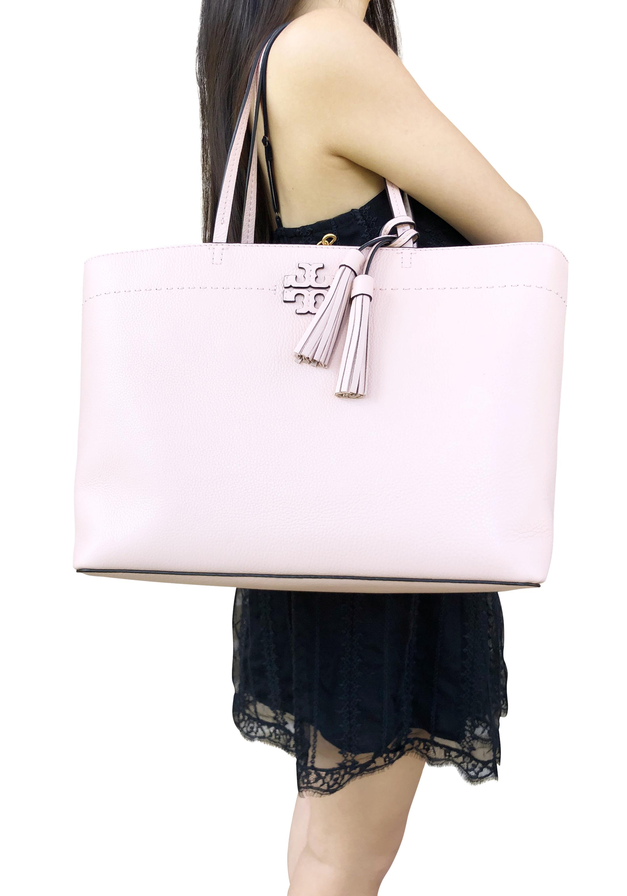 3ba7b25ba779 Tory Burch McGraw Leather Large Tote Pink Quartz Tassel 190041729289 ...