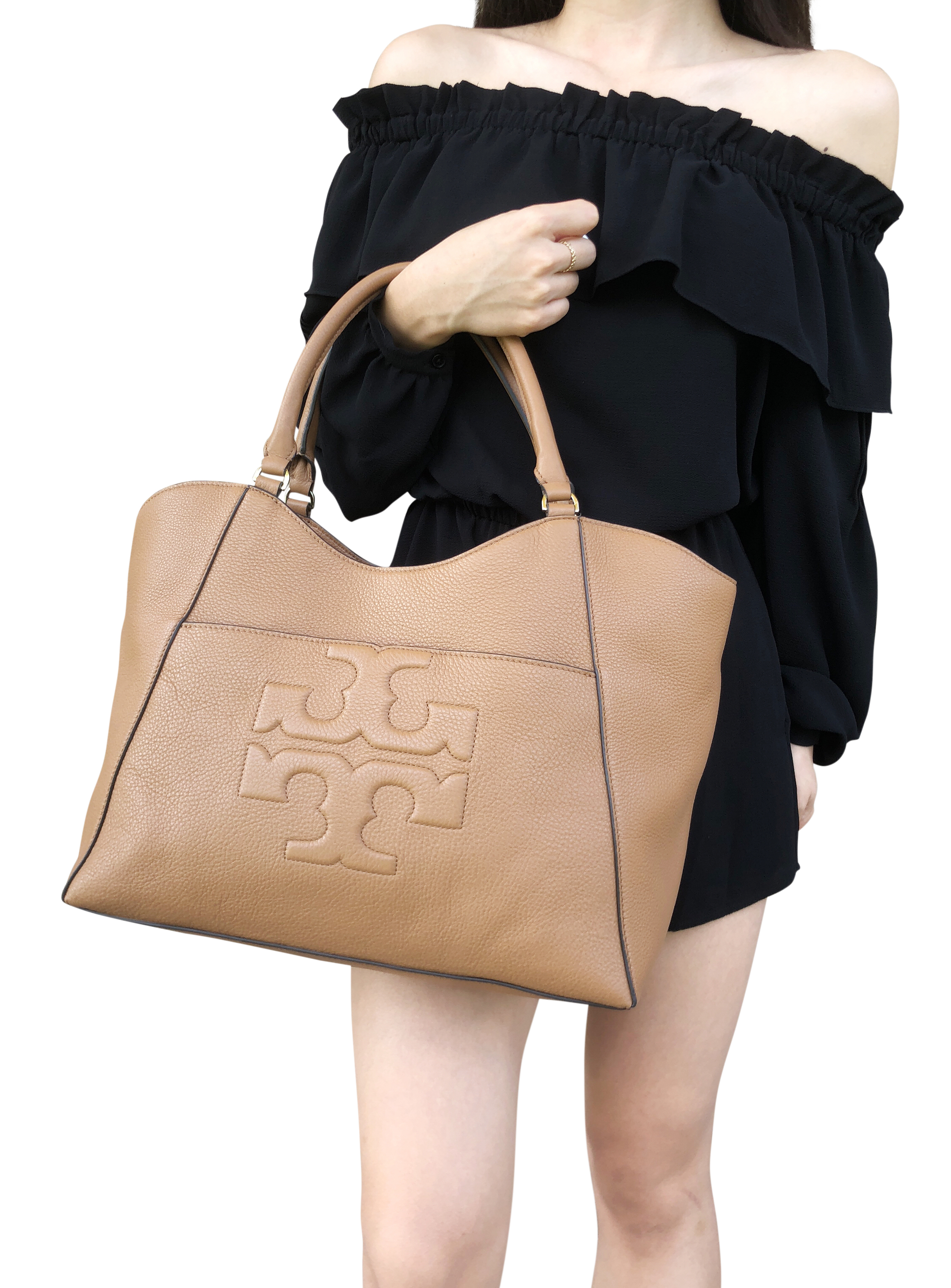 Details about Tory Burch Bombe T Large East West Tote Bag Bark Tan Pebble  Leather 60f84edd1a342