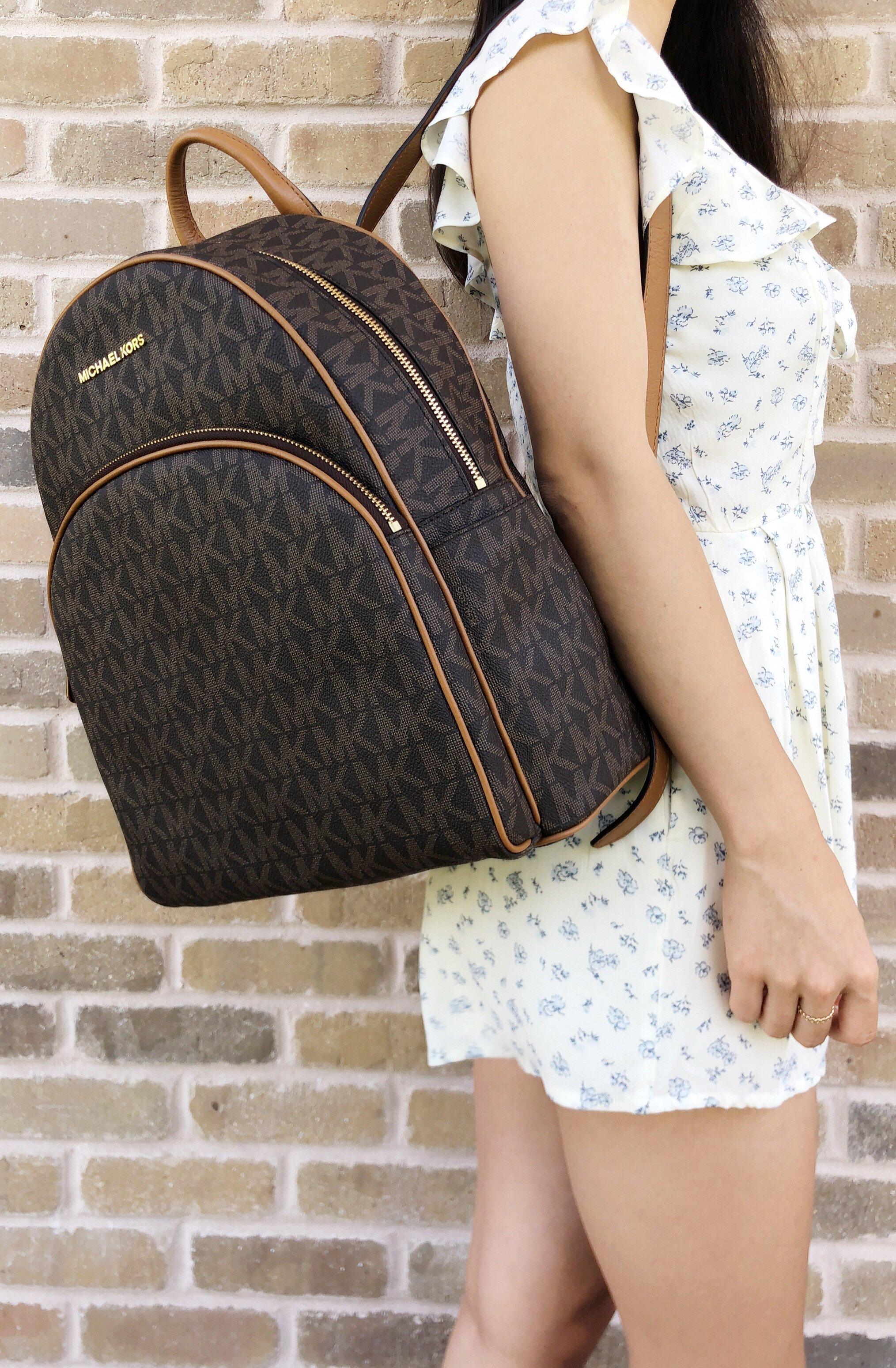 2af4bdfe0c848 Michael Kors Abbey Large Backpack Brown MK Signature PVC Leather ...