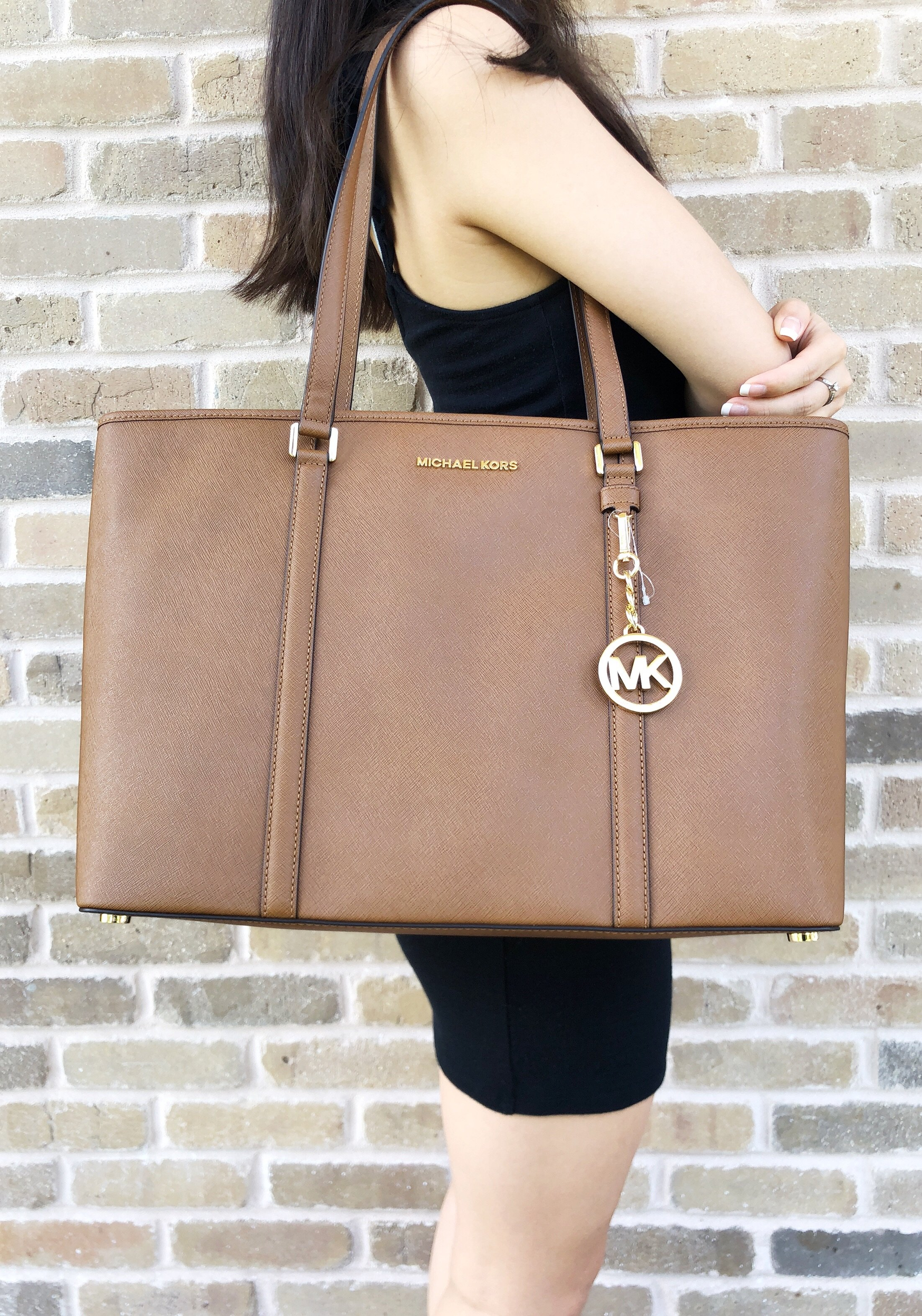 ed7a64e3fc5a71 Michael Kors Sady Large Multifunctional Top Zip tote Luggage Brown Laptop  Bag