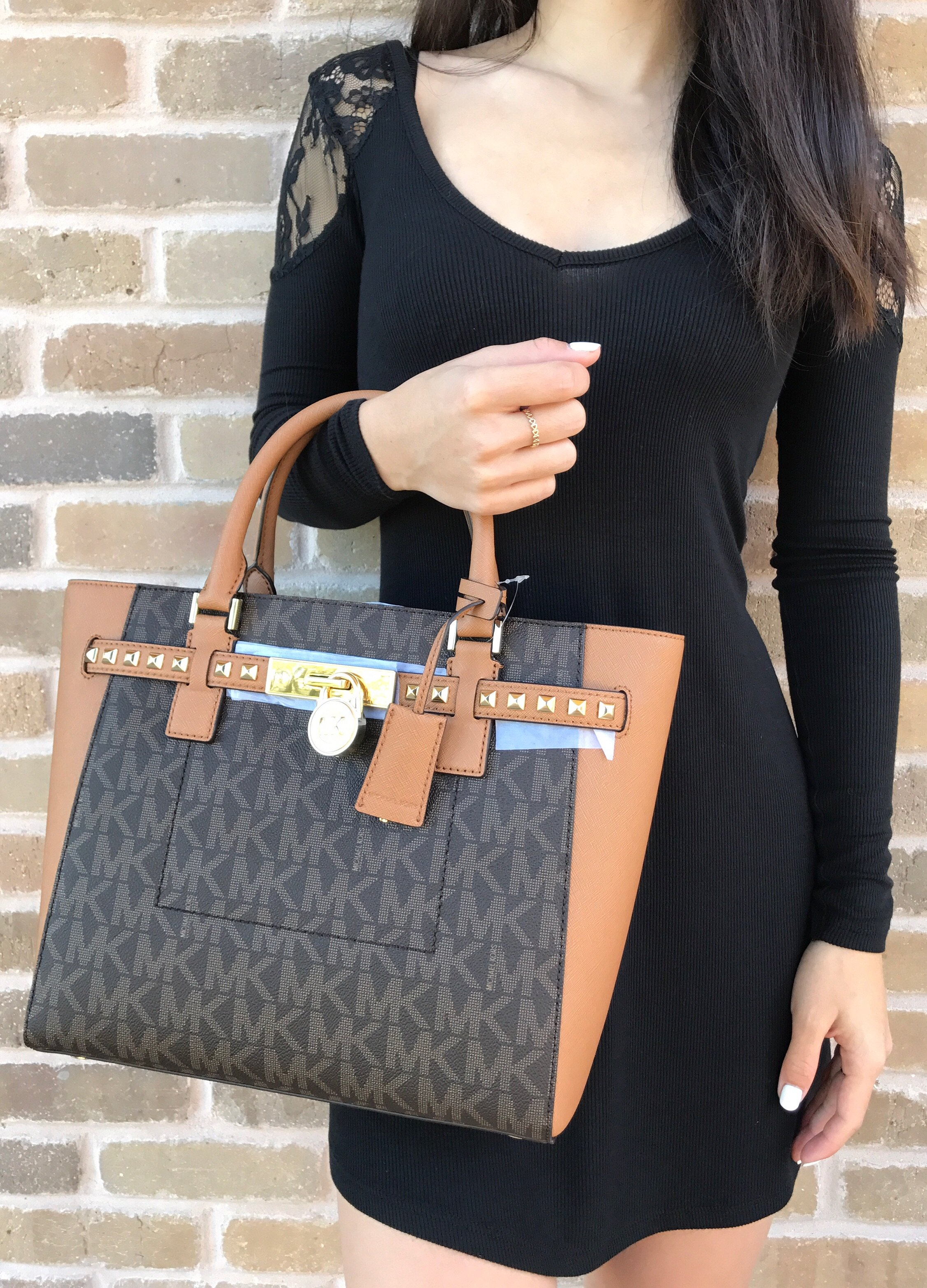 Michael Kors Hamilton Stud Traveler Large Satchel Top Zip Tote Brown Small Acorn Authentic Retail 45800 Tax