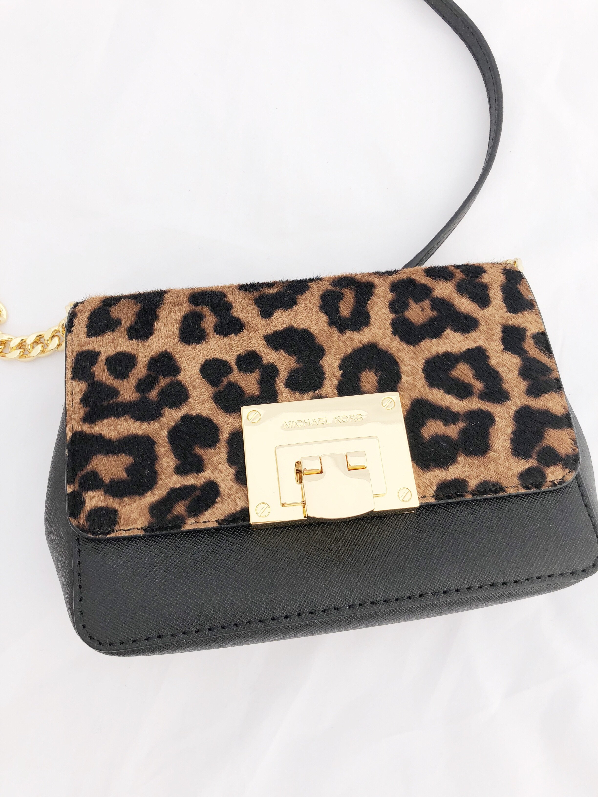 7d793da7620a ... wholesale michael kors tina mk mini crossbody bag black leopard calf  hair 7289e 0bded