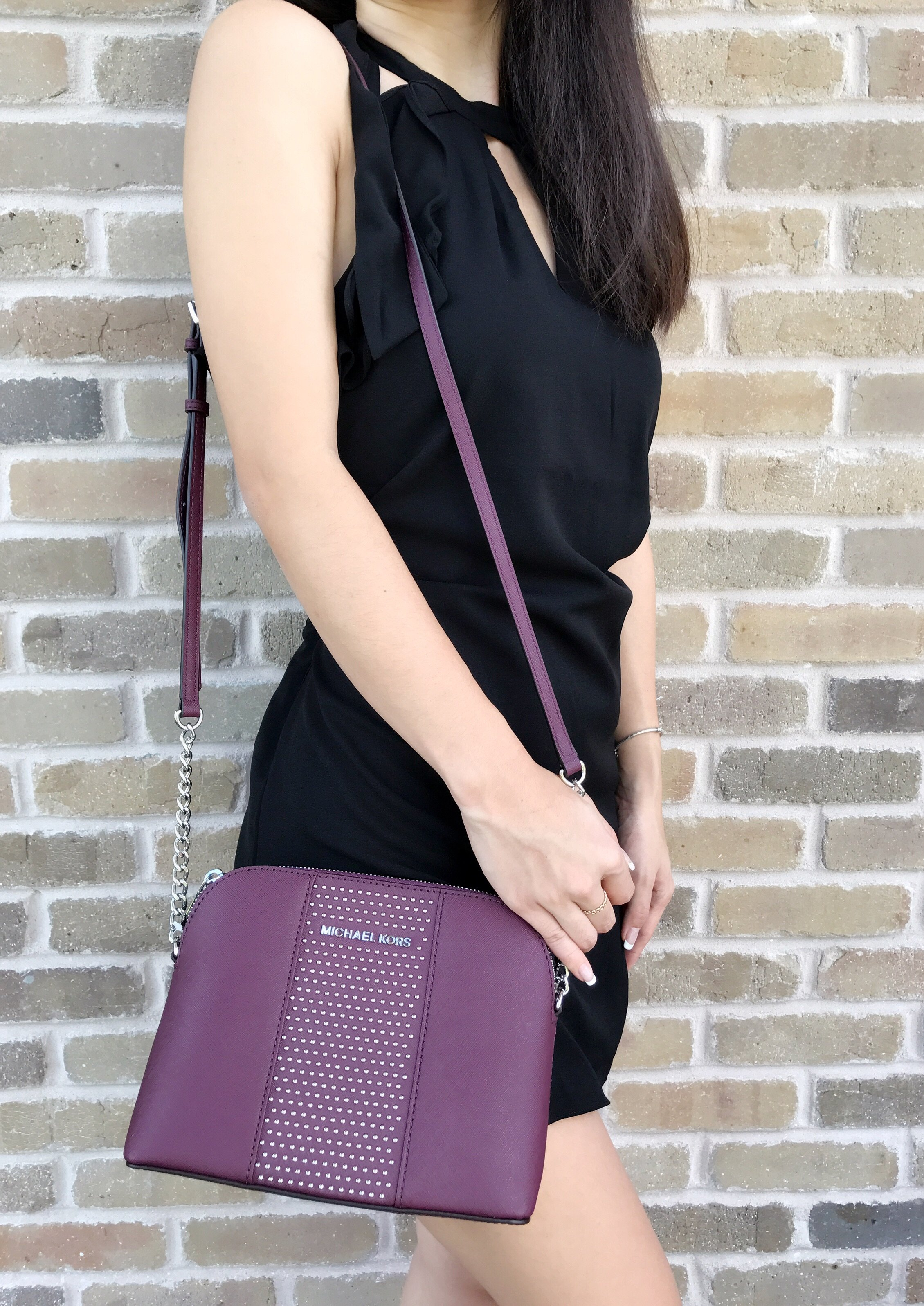 8ae5f35f3644 ... get michael kors micro studded cindy dome chain crossbody bag plum  ae374 9322f