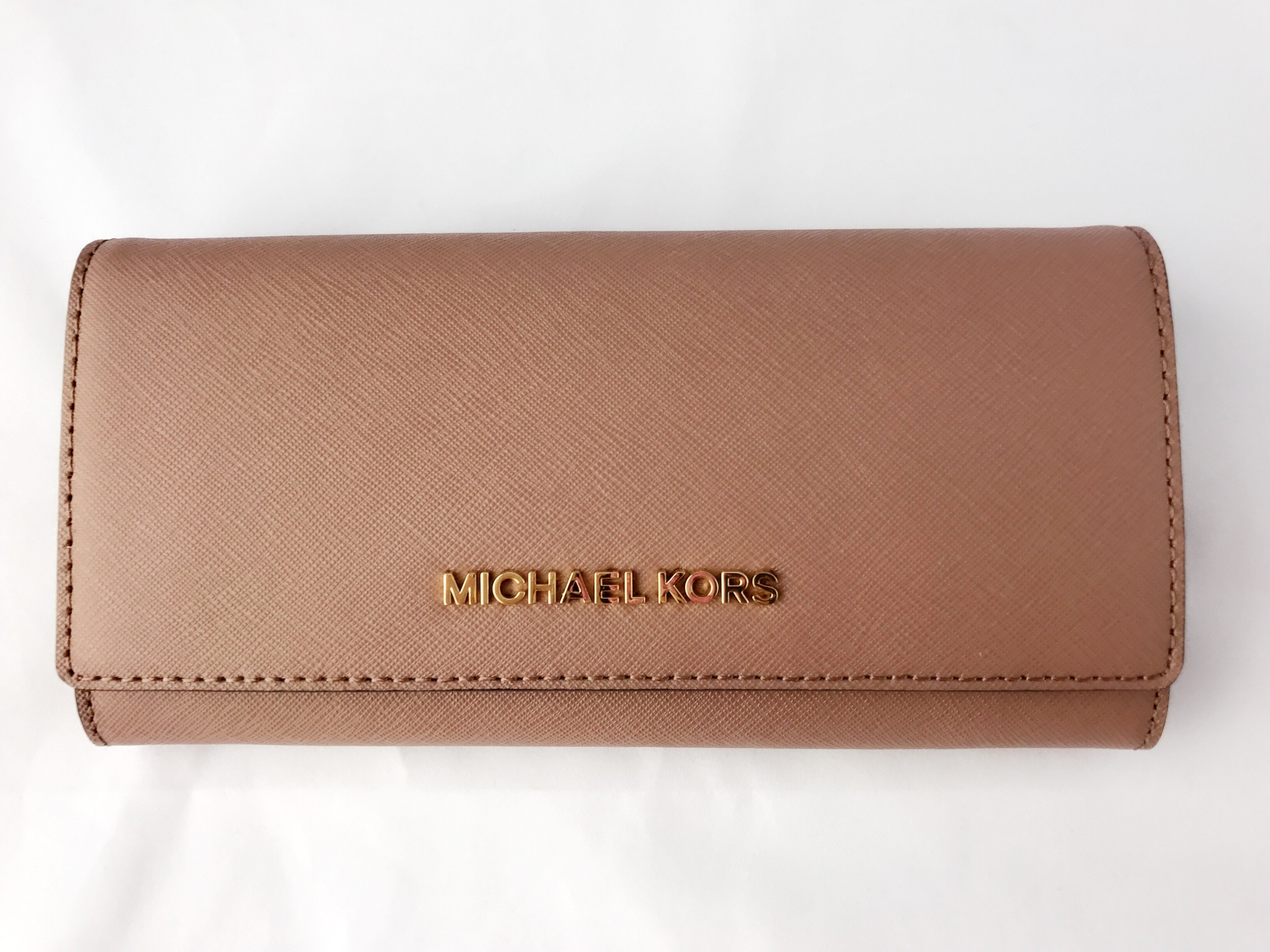 f78c1a37632b Michael Kors Jet Set Travel Wallet Saffiano Leather Brown Vanilla Dusty  Rose | eBay
