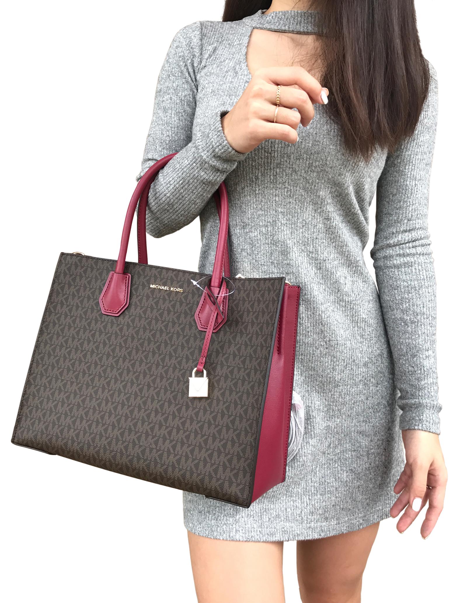 3c48d9242b89 Michael Kors Mercer Studio Large Convertible Tote Brown MK Mulberry Pink Bag